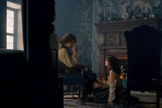 "Outlander ""Lallybroch"" (1x12) promotional picture wallpaper with a living room, a city scene, and a drawing room in The Claire & Jamie Fraser Club"
