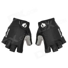 Outdoor Bike Bicycle Cycling Half-Finger Fabric   Artificial Leather Gloves - Black   Grey (Size XL) Price: $8.24