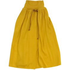 Pre-owned Fendi Mustard Yellow Wool Skirt ($285) ❤ liked on Polyvore featuring skirts, fendi skirt, wool skirt, fendi, pull on skirts and beige skirt
