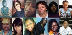 """""""These are some of the faces of Black women who have recently died in police encounters. Their names are: Gabriella Navarez, Aura Rosser, Michelle Cusseaux, Tanisha Anderson, Alexia Christian, Meagan Hockaday, Miriam Carey, Janisha Fonville, Natasha McKenna, Sandra Bland, Sheneque Proctor, and Kindra Chapman.""""- Image and commentary thanks to Stacey Patton #sayhername"""