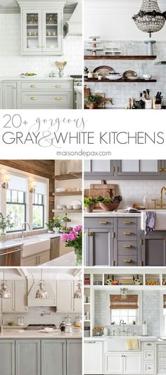 So many stunning gray and white kitchens! Including marble countertops and backsplashes, subway tiles, open shelving, farmhouse sinks, two tone cabinets, and more. Kitchen design inspiration | maisondepax.com