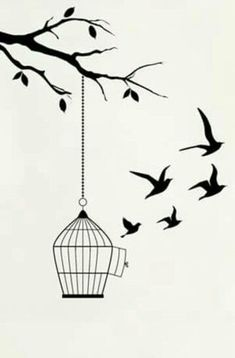Trendy bird cage tattoo ideas 38 Ideas - - The bird cage is both a house for the chickens and a pretty tool. You can select whatever you need on the list of bird cage versions and get a lot more particular images. Art Drawings Sketches Simple, Girl Drawing Sketches, Pencil Art Drawings, Bird Drawings, Easy Drawings, Drawing Art, Beautiful Drawings, Tattoo Sketches, Doodle Art