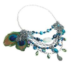 Sweet Peacock feather necklace