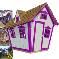 Playhouse plans with construction process complete set of plans construction progress + comments complete material list + tool list DIY building cost$350 FREE shipping FREE sample plans of one of our design