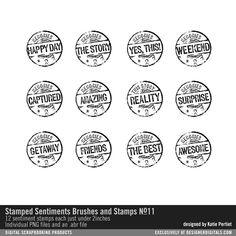 Stamped Sentiments No. 11 Brushes and Stamps- Katie Pertiet Brushes- DS732495- DesignerDigitals