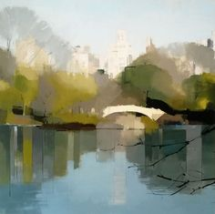 painting Bow Bridge Reflections by Lisa Breslow