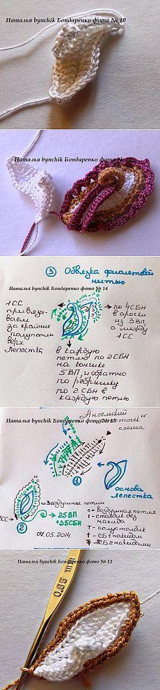 Irish crochet &: Цветок и листик от Натальи Бондаренко. МК.