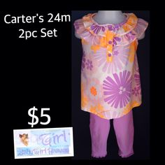 Carter's 24m Toddler/Infant Girls 2pc Legging Set $5