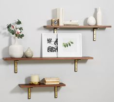 Save space and stay organized with wall shelves and floating shelves from Pottery Barn. Find wood, metal and glass shelves in various styles to complete your space. Wall Shelf With Hooks, Diy Hanging Shelves, Floating Shelves Diy, Decorative Wall Shelves, Wall Shelf Decor, Shelves With Brackets, Hanging Organizer, Display Shelves, Dark Wood Shelves