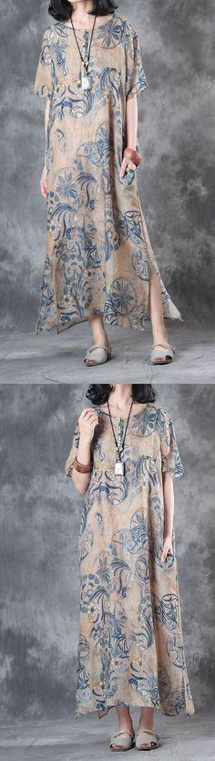 baggy summer blue prints linen dresses oversize vintage sundress