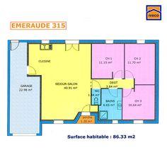 plan maison plain pied 3 chambres 8637m
