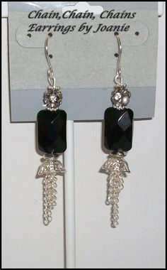 Black Onyx Bead Earrings with Chain Dangles by ChainChainChains