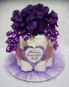 Beautiful Baby Purple Mini Diaper Cake Centerpiece - Baby Shower Gift