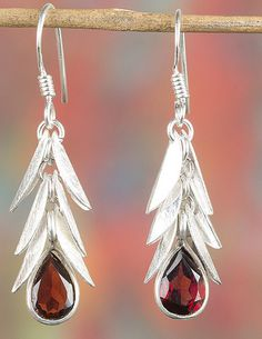 Chandelier Earrings – Sterling Silver Faceted Garnet Earring BJE-346-GRC – a…