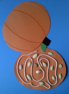 """Lots of fall-themed crafts for preschoolers; use this """"what's inside"""" pumpkin for Pumpkin themed story time"""