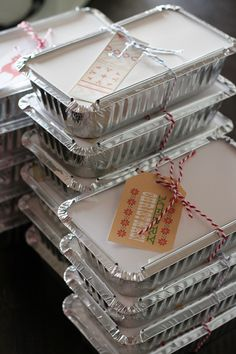Take out containers for Christmas baked gifts.