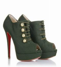 Christian Louboutin Shoes Loubout Flannel Booties Marine