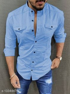 Shirts DOUBLE POCKET STAND COLLAR SHIRT Fabric: Cotton Sizes: XL, L, M Country of Origin: India Sizes Available: M, L, XL   Catalog Rating: ★4 (413)  Catalog Name: Classic Designer Men Shirts CatalogID_2615772 C70-SC1206 Code: 394-13344479-1521