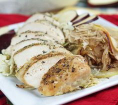 Roasted chicken breasts with cabbage and apples.This is an old German dish that's equally good made with pork.