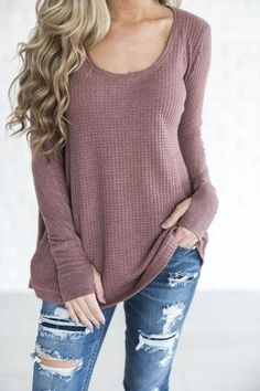 Cute and flowy mauve thermal top. Pairs perfectly with a denim jacket, leather jacket, or some cute comfs ;) Paired here with: loungers // jeans & booties See Jessa's sizing HERE, she is wearing size