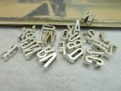 52pcs fashion accessories 2Sets Vintage Antique Silver A-Z Letters Hole Beads  Findings DIY Jewelry Making