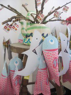 Deze wordt het dus: de haai traktatie printbaar knipvel kinderfeest