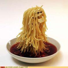 funny food photos - Spaghetti Yeti