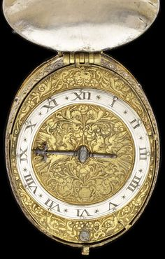 Watch with a silver case and gilt brass dial, both engraved with flower and bird motifs in the style of Michel le Blon, signed 'N Ridgdale', London, about 1610 Production Note
