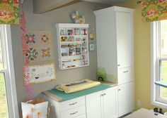 Great layout for basement cabinet and buffet sewing area awesome sewing room Sewing Room Design, Sewing Room Storage, Sewing Room Organization, Sewing Rooms, Sewing Station, Diy Cutting Board, Quilting Room, Construction, Space Crafts