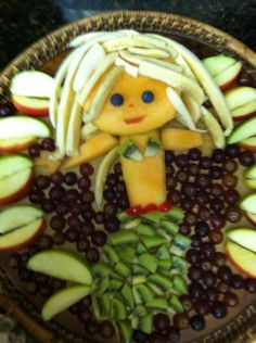 fruit tray made from fruit for a baby shower