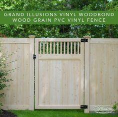 PVC Vinyl wood grain fence that looks like real wood! Eastern White Cedar grain privacy fence from Illusions Vinyl Fence. #fenceideas #backyardideas #fence #woodgrain #vinyl #pvc