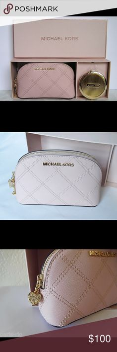 Michael Kors cosmetic bag &a mirror gift set Super cute and pretty Michael Kors boxed set pairs a charm-adorned leather cosmetics case with a sleek gold-tone compact mirror for a beautifully feminine and fabulous gift. Never removed from box, new. Michael Kors Bags Mini Bags
