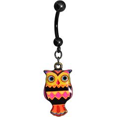 Pink and Yellow Patchwork Artistic Owl Dangle Belly Ring | Body Candy Body Jewelry #bodycandy #piercings #bellyring