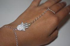 Silver Hand of Fatima Slave Bracelet Hand by SpringCarverDesigns, $20.00