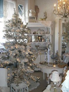 Our white flocked trees at Posh On Palm