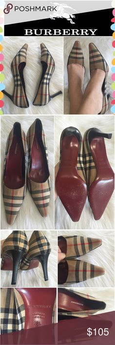 Authentic Burberry Plaid pumps Simply classy and beautiful Burberry heels. They're in very good condition. They show minor wear on soles and the small flaw on the right upper heel. No accessories included Burberry Shoes Heels