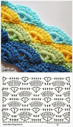 I like the colors.... Crochet stitches Balbatron ~ Knitting NEEDLE CRAFTS