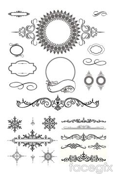 Several European-style pattern vector
