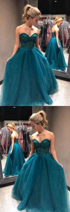 Sweetheart Beading A-Line Long Blue Tulle Cheap Prom Dresses #blue #tulle #sweetheart #strapless #long #prom #okdresses