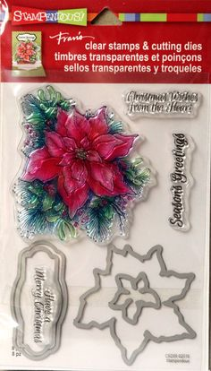 Stampendous! Fran's Christmas Poinsettia Clear Stamps & Cutting Dies