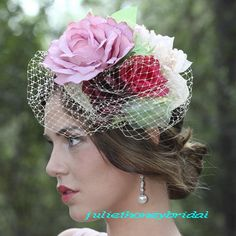 BIRDCAGE VEIL Wedding hat  bridal head piece by Juliethoneybridal