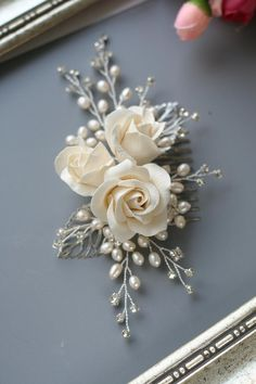 Ivory Rose Hair Comb Rose Wedding Comb Wedding headpiece Bridal Hair Comb Flower Ivory Wedding Hair Accessories Bridal Hair Accessories - Alyse Home Wedding Hair Flowers, Hair Comb Wedding, Wedding Hair Pieces, Flowers In Hair, Rose Wedding, Ivory Wedding, Flower Hair, Pearl Flower, Wedding Veils