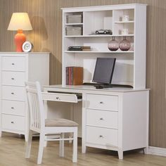 Keep your child's study space organized with the functional and attractive designs of this computer desk and hutch. Tapered legs and simple knob hardware compliment the refreshing white finish, while three storage drawers provide room for study materials and accessories. A roll-out keyboard drawer offers a convenient and accessible place for your computer keyboard. The matching hutch includes shelving for books and favorite decorative items.