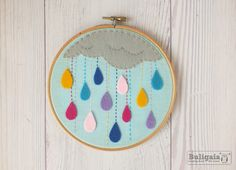 Rain of colors - Embroidery hoop wall