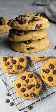 Banana Chocolate Chip Cookies – Deliciously soft, thick, and chewy chocolate chip cookies that are LOADED with banana flavour. The perfect cookies for banana lovers! Banana Com Chocolate, Banana Chocolate Chip Cookies, Cookies With Bananas, Chocolate Chips, Healthy Chocolate, Cake Chocolate, Mint Chocolate, Fun Baking Recipes, Cookie Recipes
