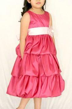 Fuchsia Common Satin Ruffels Layers Sash Perfect Classy Junior Party Dresses