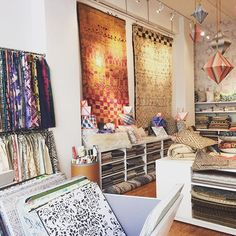 Beautiful fabrics, wallpapers and rugs @studiofournyc. We visited the showroom yesterday while in NY and brought home lots of pretty memos.#textiles #interiordesign #pillows #fabrics #wallpaper