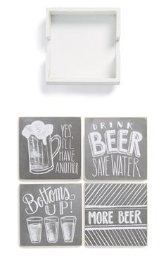 Free shipping and returns on PRIMITIVES BY KATHY 'Beer' Chalk Coasters (Set of 4) at Nordstrom.com. An assortment of bartender-approved quips in chalk-look script style artfully distressed, shabby-chic coasters.