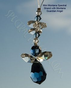 Mini Spectral Strand with Montana Blue Guardian Angel - helps to reflect your sense of compassionwww.crystalsuncatchers.co.uk www.wholesalecrystalsuncatchers.co.uk www.spectralpeacock.com
