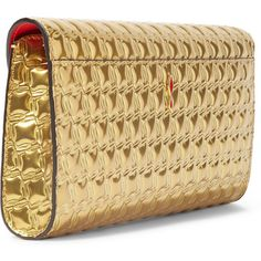 Christian Louboutin Vero Dodat metallic embossed leather clutch (3.220 BRL) ❤ liked on Polyvore featuring bags, handbags, clutches, beige handbags, beige clutches, leather handbags, genuine leather purse and christian louboutin handbags